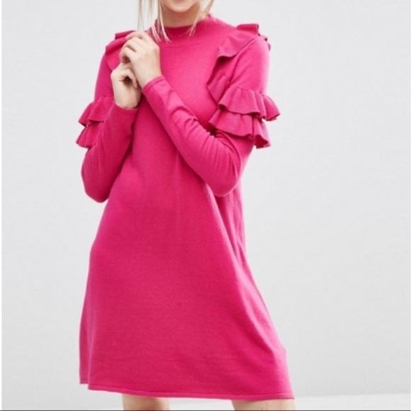 ASOS bright pink ruffle sweater dress medium
